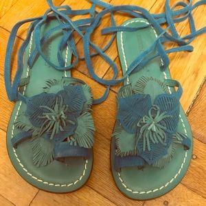 Bernardo Lace-Up Flower Sandals